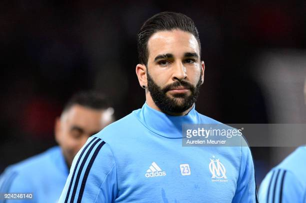 Adil Rami of Olympique de Marseille during warmup before the Ligue 1 match between Paris Saint Germain and Olympique Marseille February 25 2018 in...