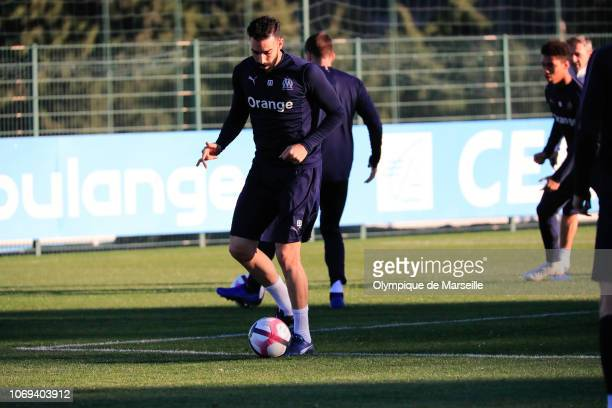 Adil Rami of Olympique de Marseille in action during a training session at Centre RobertLouis Dreyfus on December 7 2018 in Marseille France