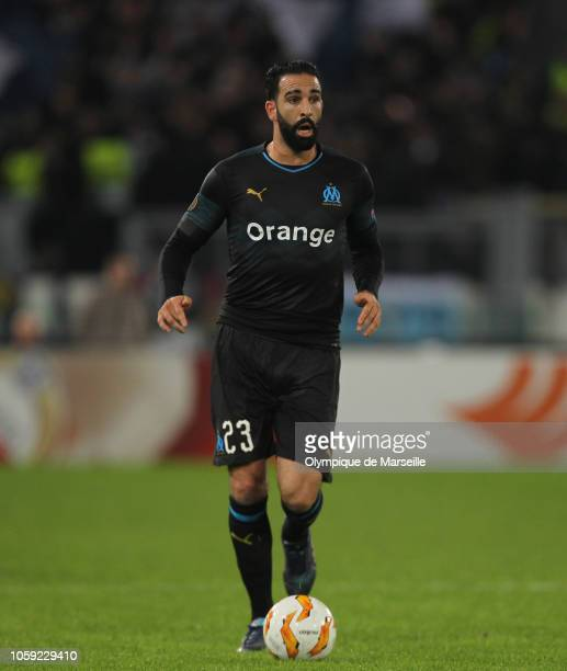 Adil Rami of Olympique de Marseille in action during the UEFA Europa League Group H match between SS Lazio and Olympique de Marseille at Stadio...