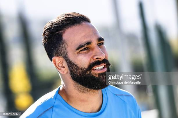 Adil Rami of Olympique de Marseille looks on during an Olympique de Marseille training session prior to the UEFA Europa League Group H match between...