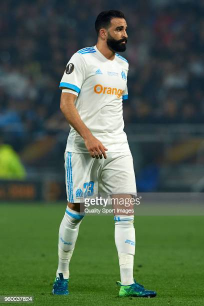 Adil Rami of Olympique de Marseille looks on during the UEFA Europa League Final between Olympique de Marseille and Club Atletico de Madrid at Stade...