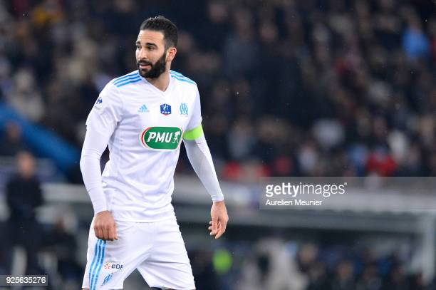 Adil Rami of Olympique de Marseille reacts during the French Cup match between Paris SaintGermain and Olympique de Marseille at Parc des Princes on...