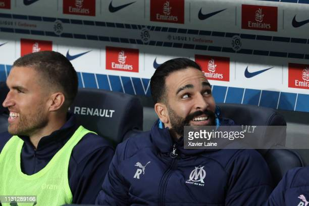 Adil Rami of Olympique de Marseille reacts during the Ligue 1 match between Paris SaintGermain and Olympique de Marseille at Parc des Princes on...