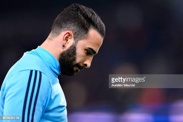 Adil Rami of Olympique de Marseille reacts during warmup before the French Cup match between Paris SaintGermain and Olympique de Marseille at Parc...
