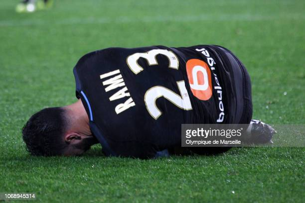 Adil Rami of Olympique de Marseille rreacts after a tackle during the Ligue 1 match between Olympique de Marseille and FC Nantes at Stade de la...