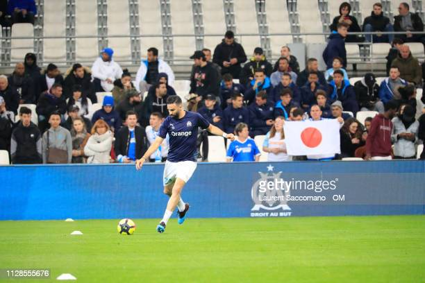 Adil Rami of Olympique de Marseille warms up prior to the Ligue 1 match between Olympique de Marseille and AS SaintEtienne at Stade Velodrome on...