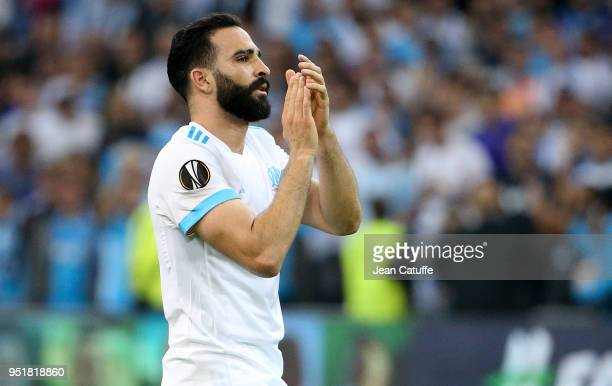 Adil Rami of OM celebrates the victory following the UEFA Europa League semi final first leg match between Olympique de Marseille and FC Red Bull...