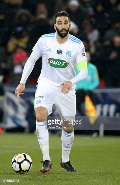 Adil Rami of OM during the French National Cup match between Paris Saint Germain and Olympique de Marseille at Parc des Princes stadium on February...