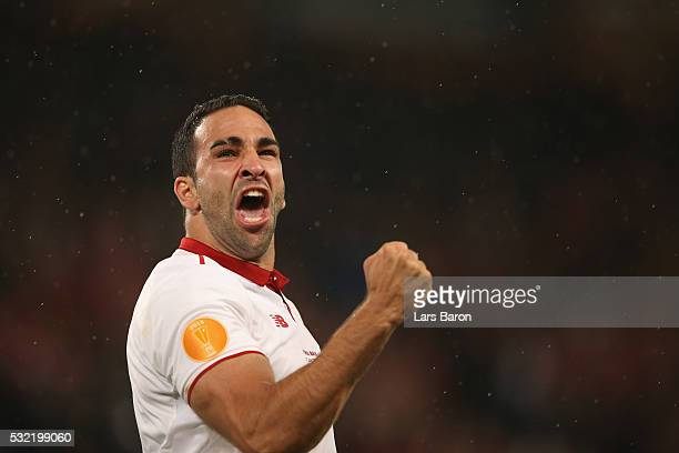 Adil Rami of Sevilla celebrates their 31 victory in the UEFA Europa League Final match between Liverpool and Sevilla at St JakobPark on May 18 2016...