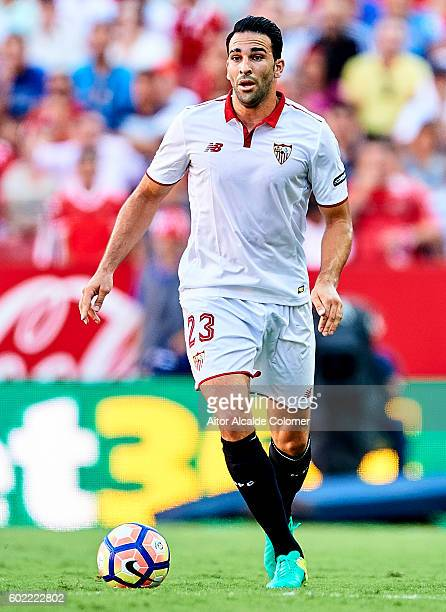 Adil Rami of Sevilla FC in action during the match between Sevilla FC vs UD Las Palmas as part of La Liga at Estadio Ramon Sanchez Pizjuan on...