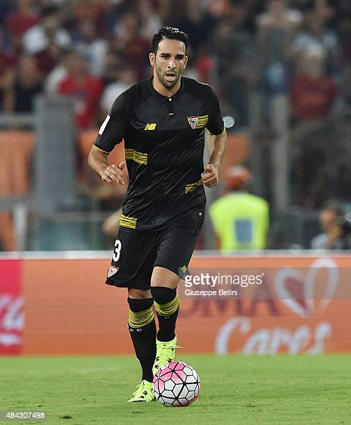 Adil Rami of Sevilla FC in action during the preseason friendly match between AS Roma and Sevilla FC at Olimpico Stadium on August 14 2015 in Rome...