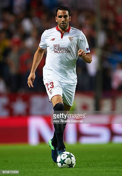 Adil Rami of Sevilla FC in action during the UEFA Champions League match between Sevilla FC vs GNK Dinamo Zagreb at the Sanchez Pizjuan Stadium on...