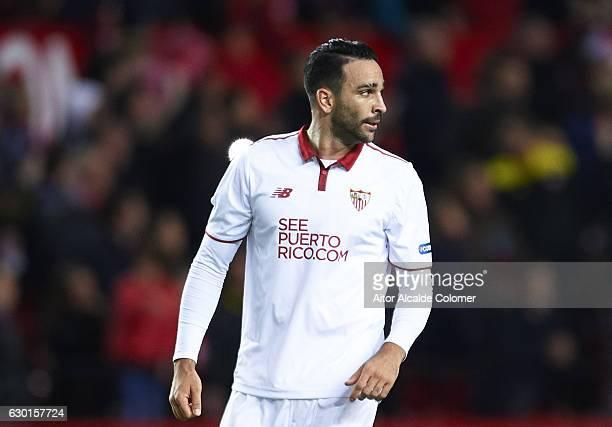 Adil Rami of Sevilla FC looks on during the La Liga match between Sevilla FC and Malaga CF at Estadio Ramon Sanchez Pizjuan on December 17 2016 in...