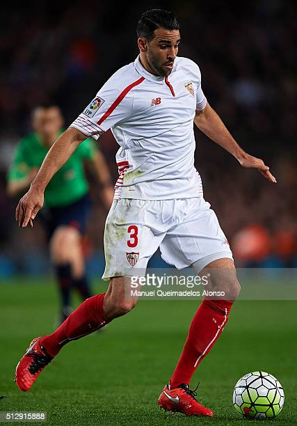Adil Rami of Sevilla in action during the La Liga match between FC Barcelona and Sevilla FC at Camp Nou on February 28 2016 in Barcelona Spain