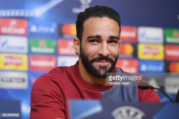 Adil Rami of Sevilla speaks to the media during the Sevilla press conference at The King Power Stadium on March 13 2017 in Leicester England