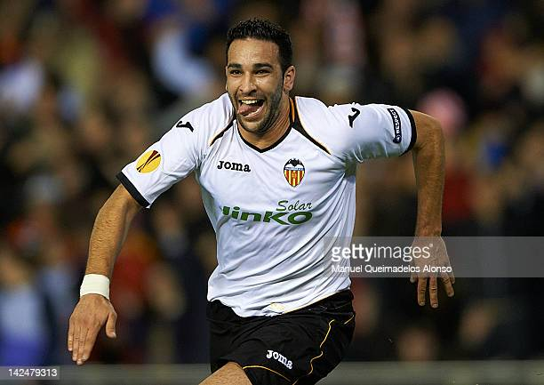 Adil Rami of Valencia CF celebrates after scoring the second goal during the UEFA Europa League quarter final second leg match between Valencia CF...