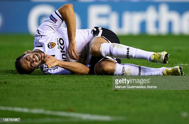 Adil Rami of Valencia reacts during the UEFA Champions League group F match between Valencia CF and FC Bayern Muenchen at Estadio Mestalla on...