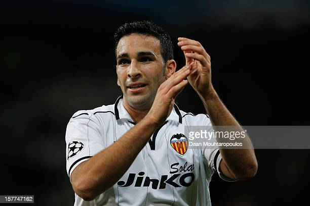 Adil Rami of Valencia thanks the fans after victory in the UEFA Champions League Group F match between OSC Lille and Valencia CF at the Grand Stade...