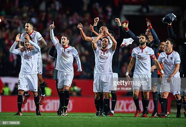 Adil Rami Victor Machin Perez Vitolo Stevan Jovetic and Sergio Escudero of Sevilla FC celebrates after winning the match against Real Madrid CF...
