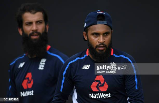 Adil Rashid and Moeen Ali of England during a nets session at Rangiri Dambulla International Stadium on October 12 2018 in Dambulla