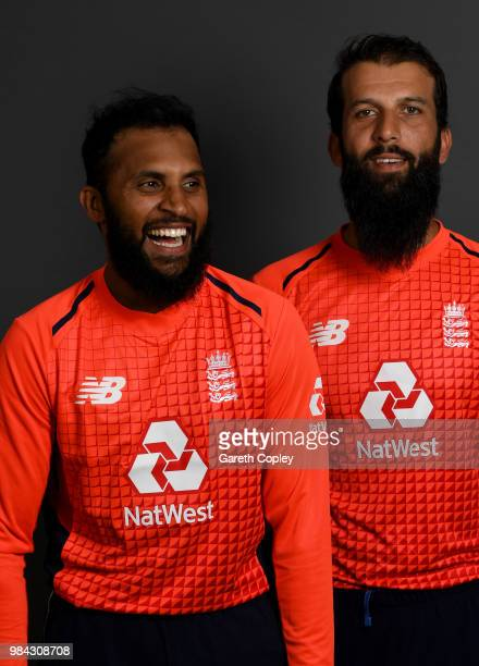 Adil Rashid and Moeen Ali of England pose for a portrait at Edgbaston on June 26 2018 in Birmingham England