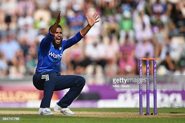 Adil Rashid of England appeals successfully for lbw against Babar Azam during the 1st One Day International between England and Pakistan at the Ageas...