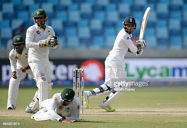 Adil Rashid of England bats during day five of the 2nd test match between Pakistan and England at Dubai Cricket Stadium on October 25 2015 in Dubai...
