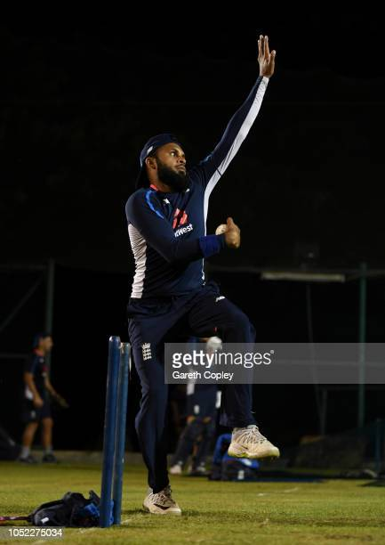 Adil Rashid of England bowls during a nets session at Pallekele International Cricket Stadium on October 16 2018 in Kandy
