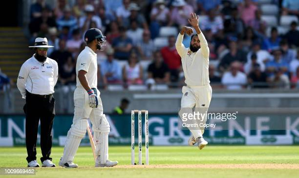 Adil Rashid of England bowls during day two of the Specsavers 1st Test between England and India at Edgbaston on August 2 2018 in Birmingham England