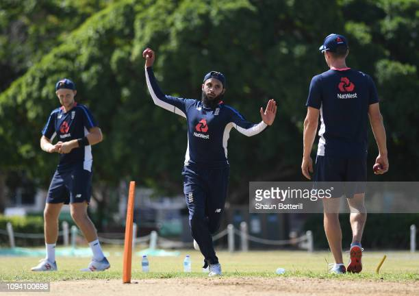 Adil Rashid of England bowls during net practice at the Three Ws Oval on January 14 2019 in Bridgetown Barbados