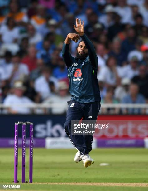 Adil Rashid of England bowls during the Royal London OneDay match between England and India at Trent Bridge on July 12 2018 in Nottingham England