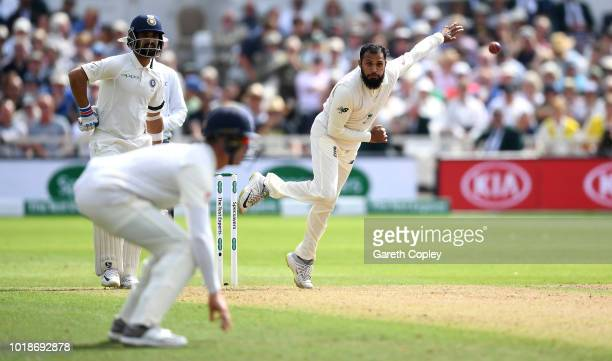 Adil Rashid of England bowls during the Specsavers 3rd Test match between England and India at Trent Bridge on August 18 2018 in Nottingham England