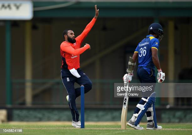 Adil Rashid of England bowls during the tour match between Sri Lanka Cricket Board XI and England at P Sara Oval on October 5 2018 in Colombo