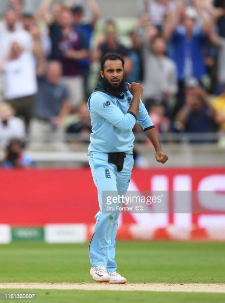 Adil Rashid of England celebrates after taking the wicket of Marcus Stoinis of Australia during the Semi-Final match of the ICC Cricket World Cup...
