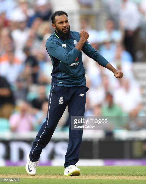 Adil Rashid of England celebrates dismissing Ashton Agar of Australia during the 1st Royal London ODI match between England and Australia at The Kia...