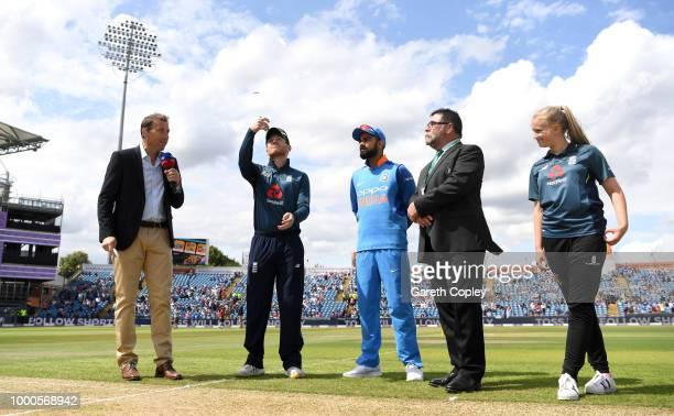 Adil Rashid of England celebrates dismissing Dinesh Karthik of India during the 3rd Royal London OneDay International match between England and India...