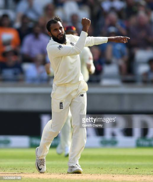 Adil Rashid of England celebrates dismissing Ishant Sharma of India during day two of the Specsavers 1st Test between England and India at Edgbaston...