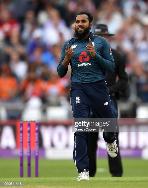 Adil Rashid of England celebrates dismissing Suresh Raina of India during the 3rd Royal London OneDay International match between England and India...