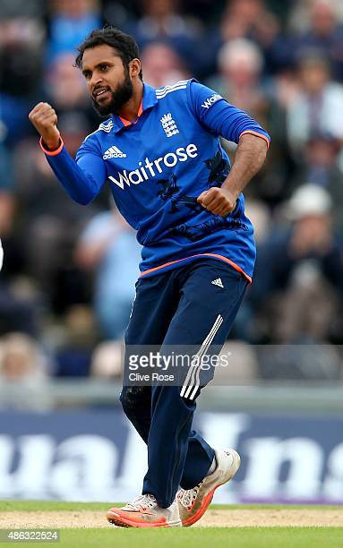 Adil Rashid of England celebrates the wicket of George Bailey of Australia during the 1st Royal London OneDay International match between England and...