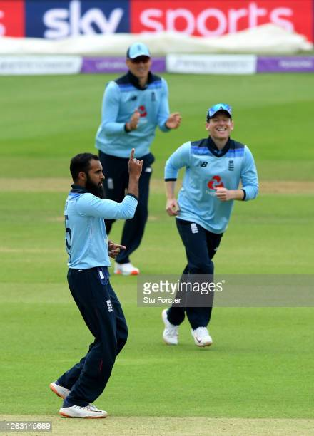 Adil Rashid of England celebrates the wicket of Kevin O'Brien of Ireland during the Second One Day International between England and Ireland in the...