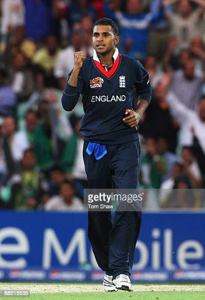 Adil Rashid of England celebrates the wicket of Kieron Pollard of West Indies during the ICC World Twenty20 Super Eights match between England and...