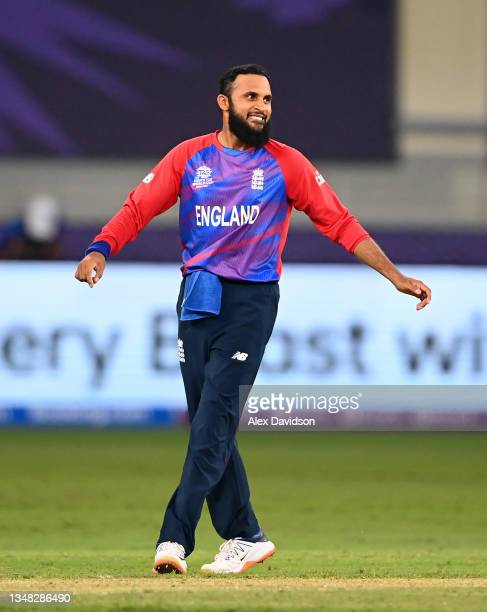 Adil Rashid of England celebrates the wicket of Ravi Rampaul of West Indies during the ICC Men's T20 World Cup match between England and Windies at...