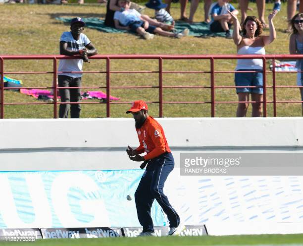Adil Rashid of England drops a catch during a T20 match between the West Indies and England at Darren Sammy Cricket Ground in Gros Islet Saint Lucia...
