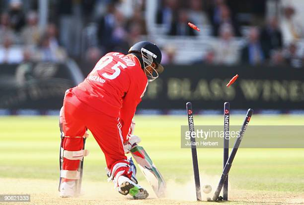 Adil Rashid of England is bowled by Brett Lee of Australia during the 4th NatWest One Day International between England and Australia at Lord's on...