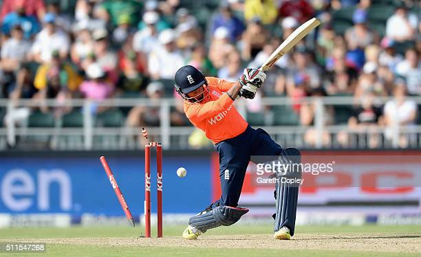 Adil Rashid of England is bowled by Kagiso Rabada of South Africa during the 2nd KFC T20 International match between South Africa and England at...