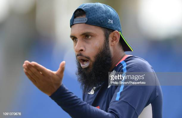 Adil Rashid of England looks on during a training session at the Sir Vivian Richards Stadium before the second Test match between the West Indies and...