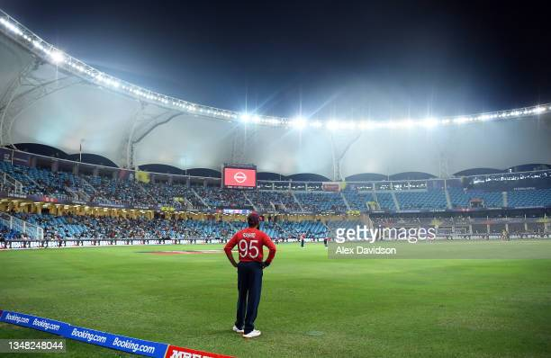 Adil Rashid of England looks on during the ICC Men's T20 World Cup match between England and Windies at Dubai International Stadium on October 23,...