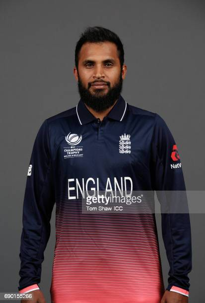 Adil Rashid of England poses for a portrait during the England Portrait session for the ICC Champions Trophy at Grange City on May 30 2017 in London...