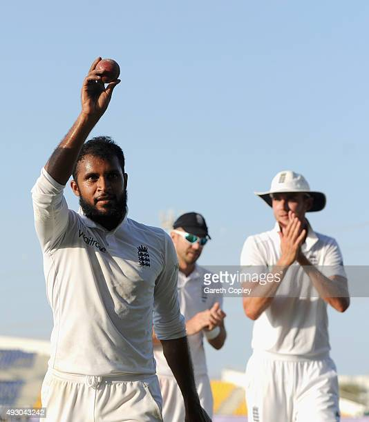 Adil Rashid of England salutes the crowd as he leaves the field after claiming 5 wicket haul during day five of the 1st Test between Pakistan and...