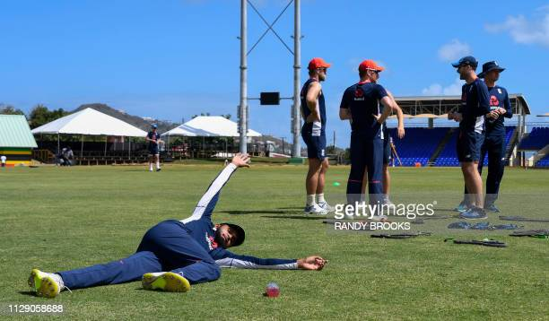 Adil Rashid of England stretches during a training day ahead of the 2nd T20 between the West Indies and England at Warner Park Basseterre Saint Kitts...